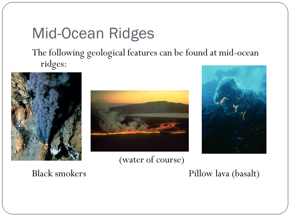 characteristics of mid oceanic ridges Description[edit] graphic shows a mid-ocean ridge, with magma rising from a  chamber below, forming new ocean plate that spreads.