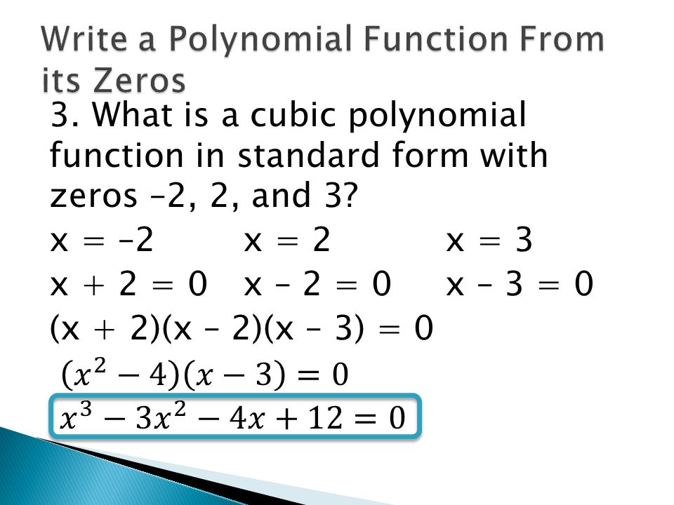 What Is A Polynomial Function In Standard Form With Zeros Denmar
