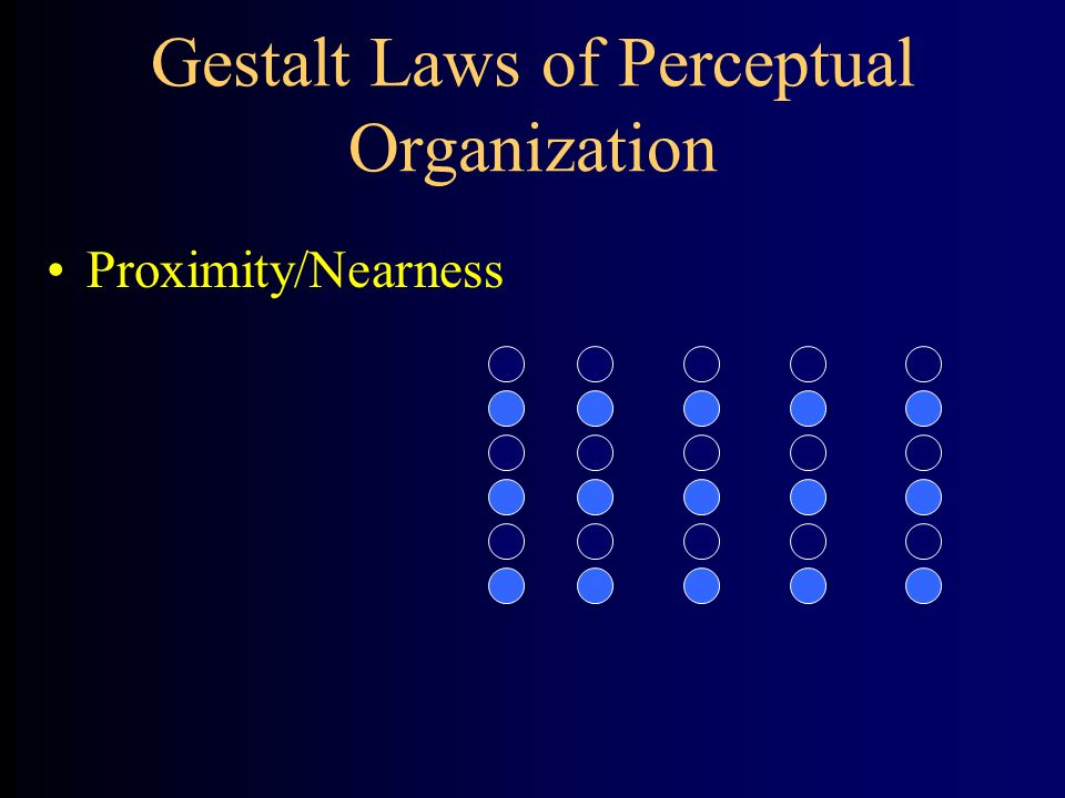 the gestalt laws of perceptual organisation psychology essay Gestalt is a psychology term which means unified  this essay has been submitted by a  some of their laws of perceptual organisation today sound vague and.