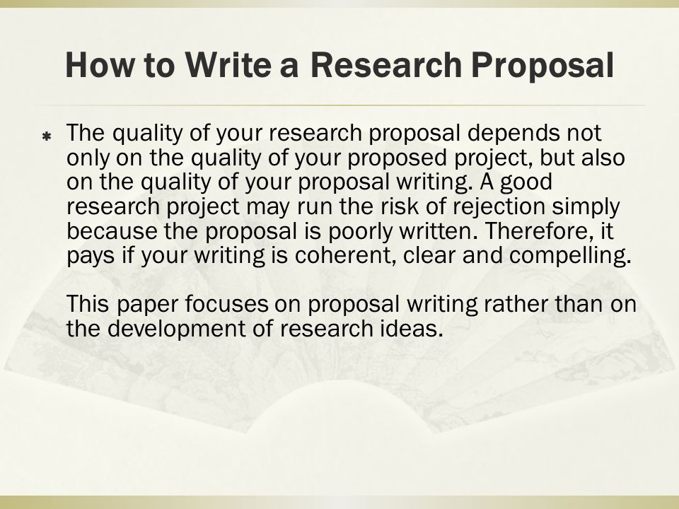 steps in a research proposal Research proposal steps step 1: the title naming your research is an important part of the research proposal it should tell the user (in 25 words or less) what you intend to research and.