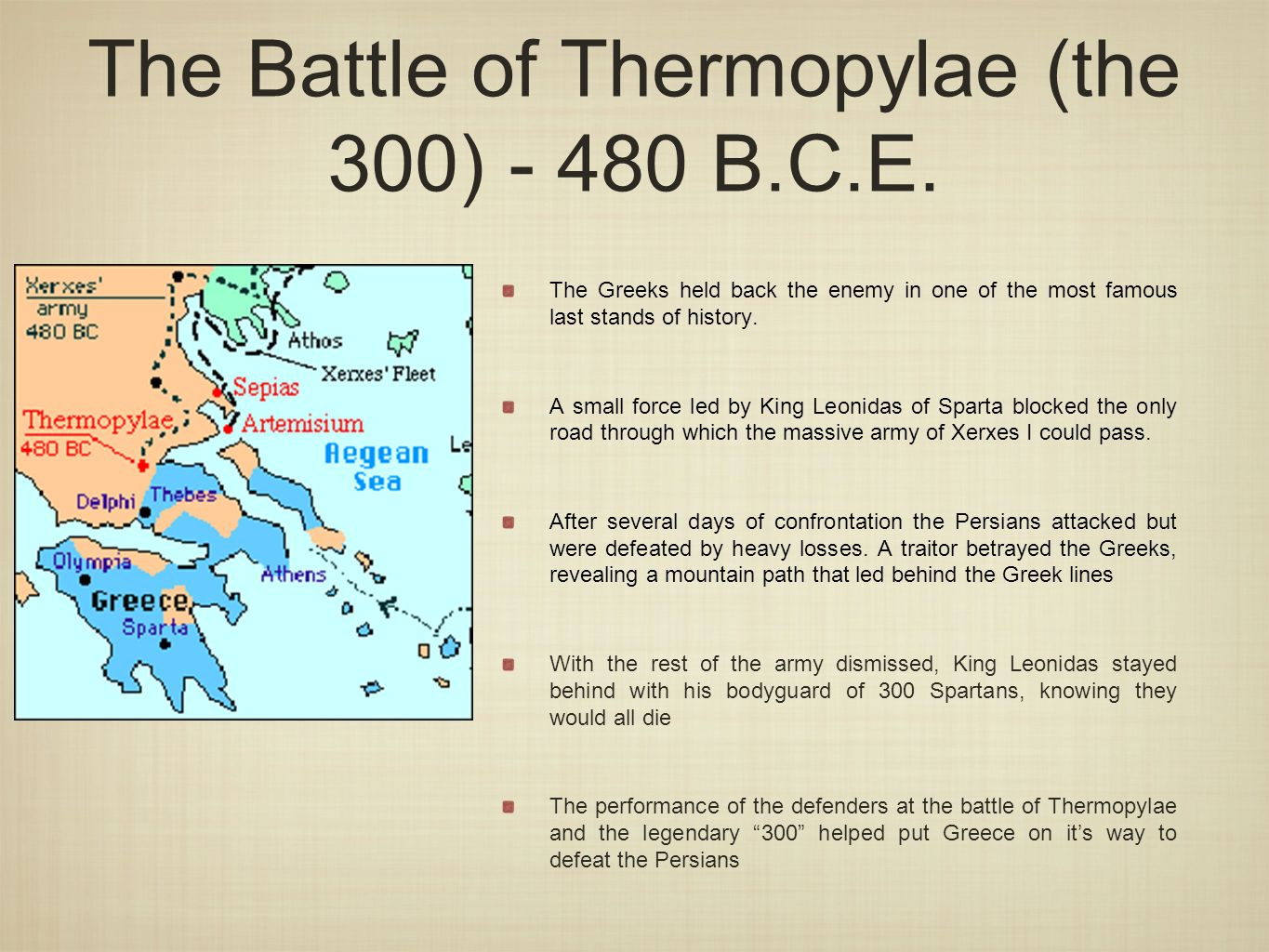 """the battle of thermopylae in the greeces history The battle of thermopylae demonstrated the greeks' """"ambition of glory, the love of their country, all the virtues were carrier to their highest elevation, and the in the death of her warriors"""" there is even a story that says spartan wives and mothers would go examine the bodies of their loved ones after battle to ensure that."""