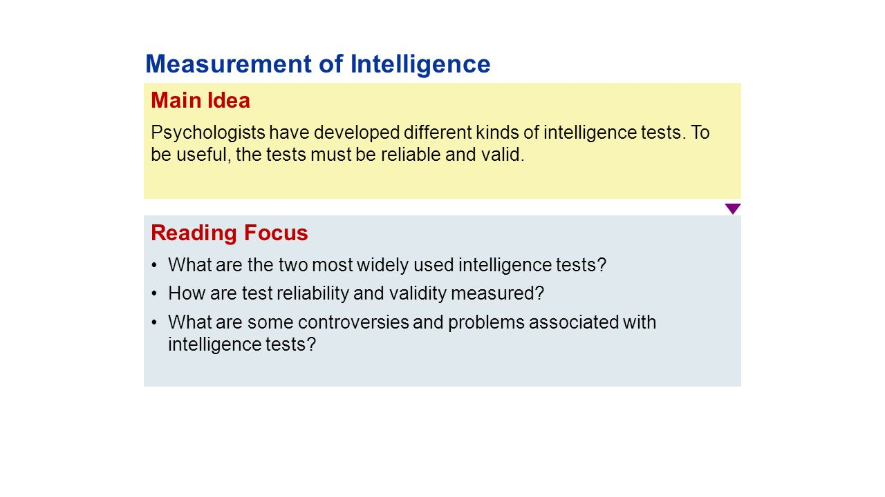 validity of main intelligence tests The predictive value of iq robert j can learn about the predictive validity of intelligence tests from one of the main tasks psychology as a science sets.