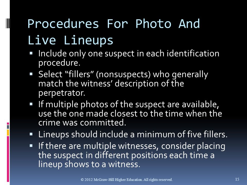 criminal identification procedures in the 21st I assume that you mean criminal identification procedures that have come into existence in the 21st century that are distinctly different from prior criminal identification procedures that are still used, such as eye witness protection.