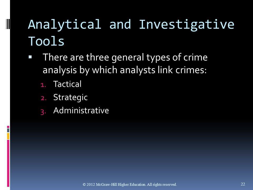 strategic tactical and administrative crime analysis Overview the crime analysis section of the apache junction police department provides statistical information in three different areas: administrative, strategic, and.