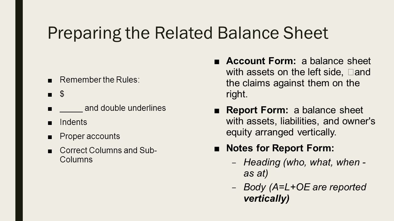 Preparing The Related Balance Sheet