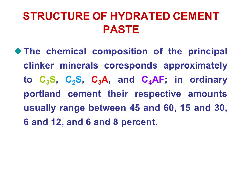 Cement C3a C4af And Hydration In : The structure of concrete definitions significance