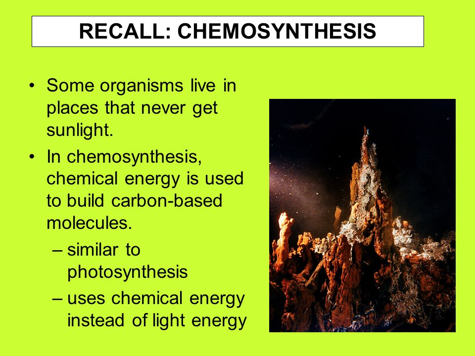 chemistry of chemosynthesis In molecular nanotechnology, chemosynthesis is any chemical synthesis where reactions occur due to random thermal motion, a class which encompasses almost all of modern synthetic chemistry the human-authored processes of chemical engineering are accordingly represented as biomimicry of the natural phenomena above,.