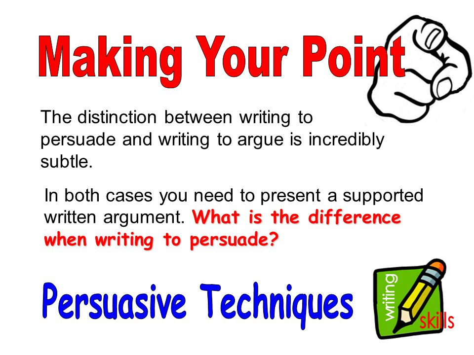 techniques in persuasive writing Persuasive techniques used in writing - title: persuasive writing is an essay which tries to convince a reader to believe what you believe about a certain topic.