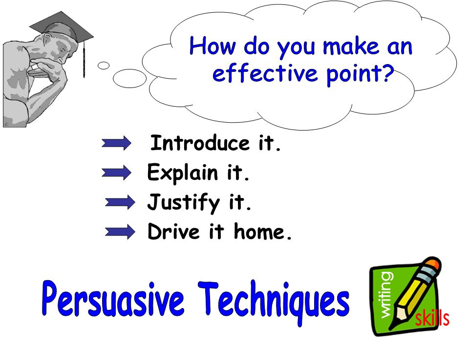 writing to explain techniques The better your writing skills are pretend that you have 15 seconds to explain your learning grammatical and stylistic techniques will also help you.