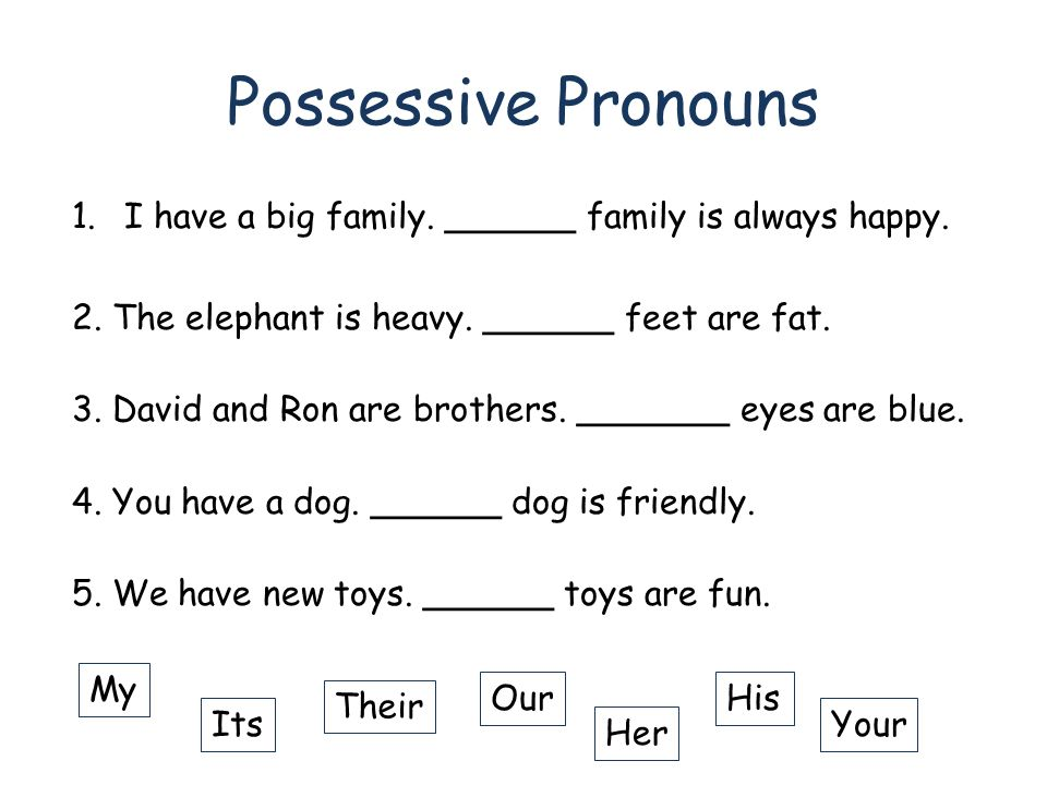 ENGLISH PRONOUNS PRACTICE TEST Possessive pronouns 2