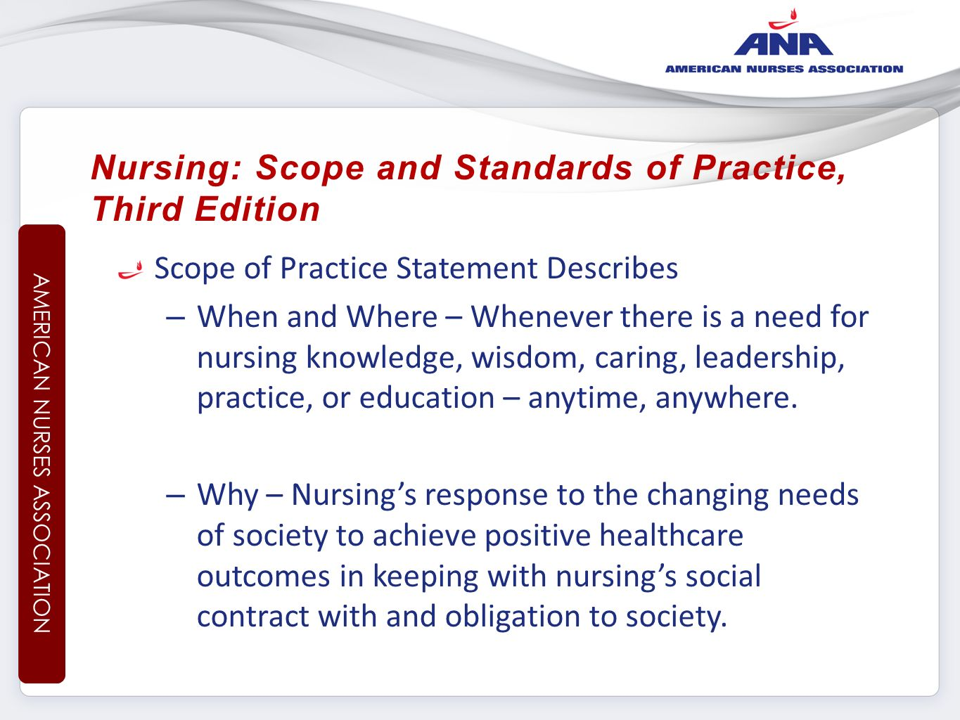why do we need a code of ethics in nursing American nurses association code of ethics for nurses (2001) -4 prinicipal elements involve standards related to nurses and ppl, practice, profession, and coworkers -forms a framework to guide nursing conduct in practice, education, and leadership.