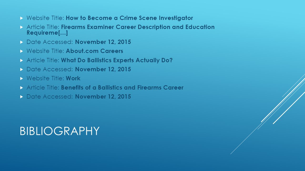 bibliography website title how to become a crime scene investigator