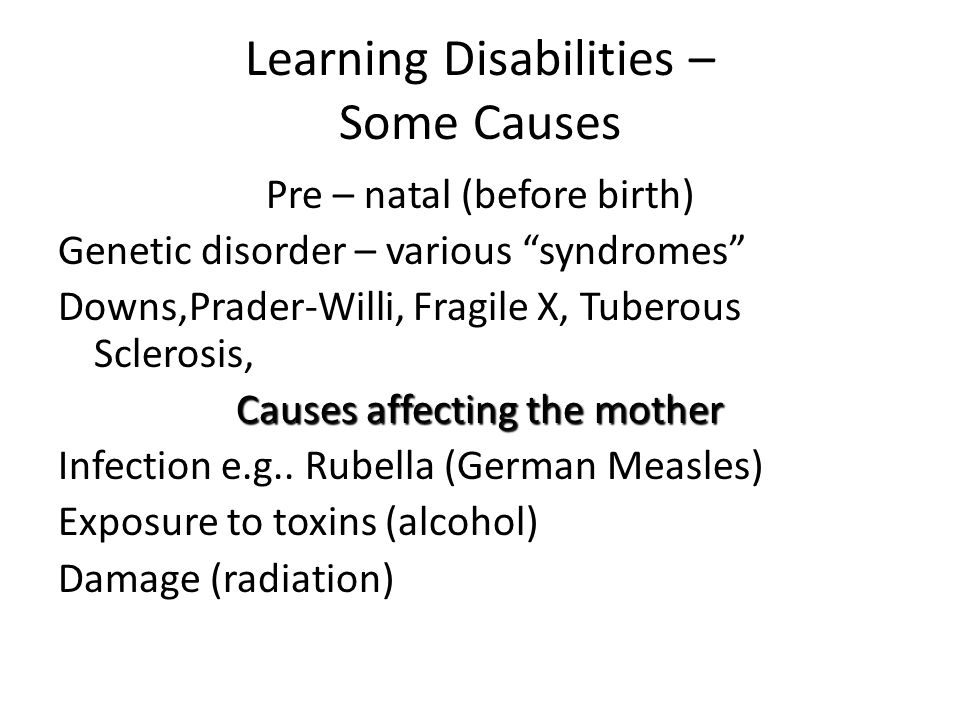 causes of learning disabilities pdf
