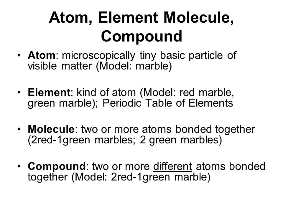 a way to distinguish between an element and a compound One way of classifying matter is as element, compound or mixture an element contains only atoms with the same number of protons, and hence the same atomic number (although they may have different mass numbers, and should not be referred to as 'identical') a compound contains atoms of two or more .