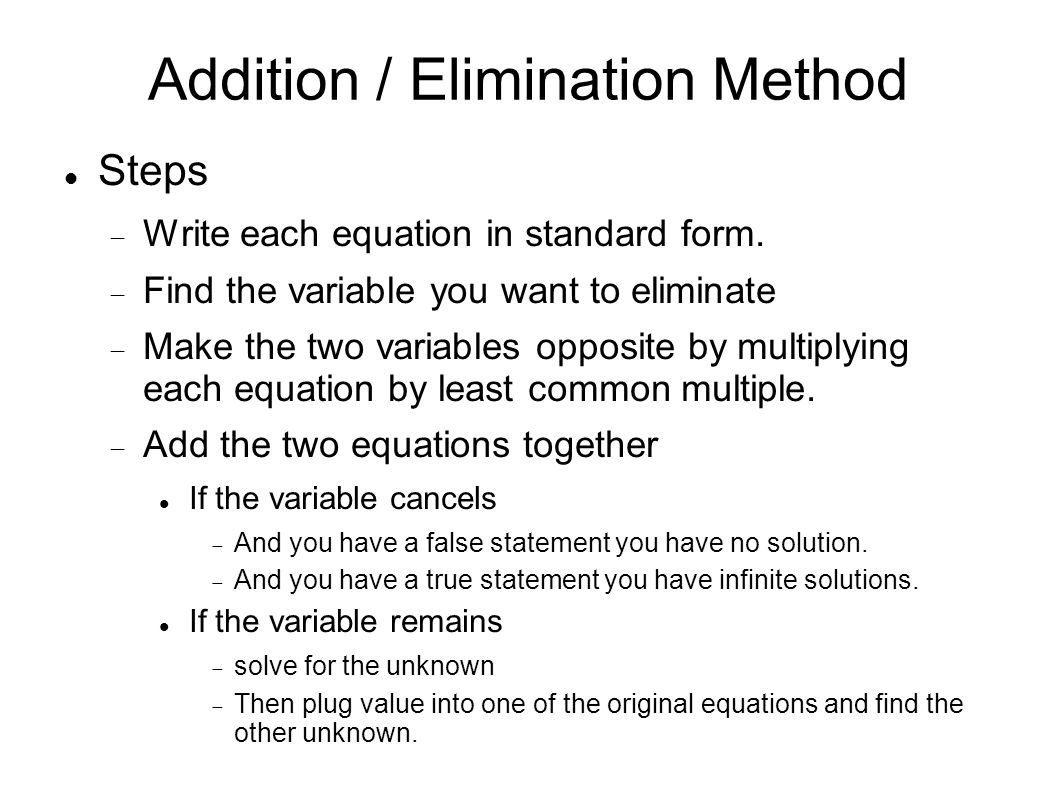 Solving by substitution method or elimination addition method 9 addition elimination method falaconquin