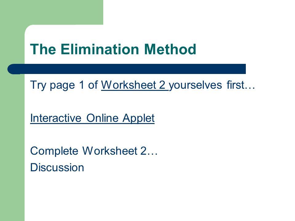 Simultaneous Equations ppt download – Elimination Method Worksheet
