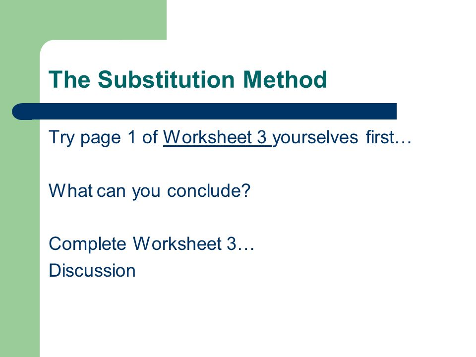Simultaneous Equations ppt video online download – Substitution Method Worksheet