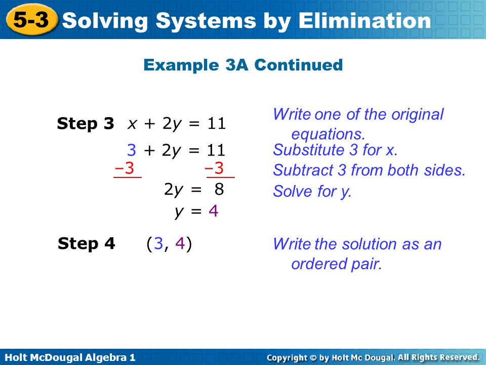 Example 3A Continued Write one of the original equations. Step 3. x + 2y = y = 11. Substitute 3 for x.