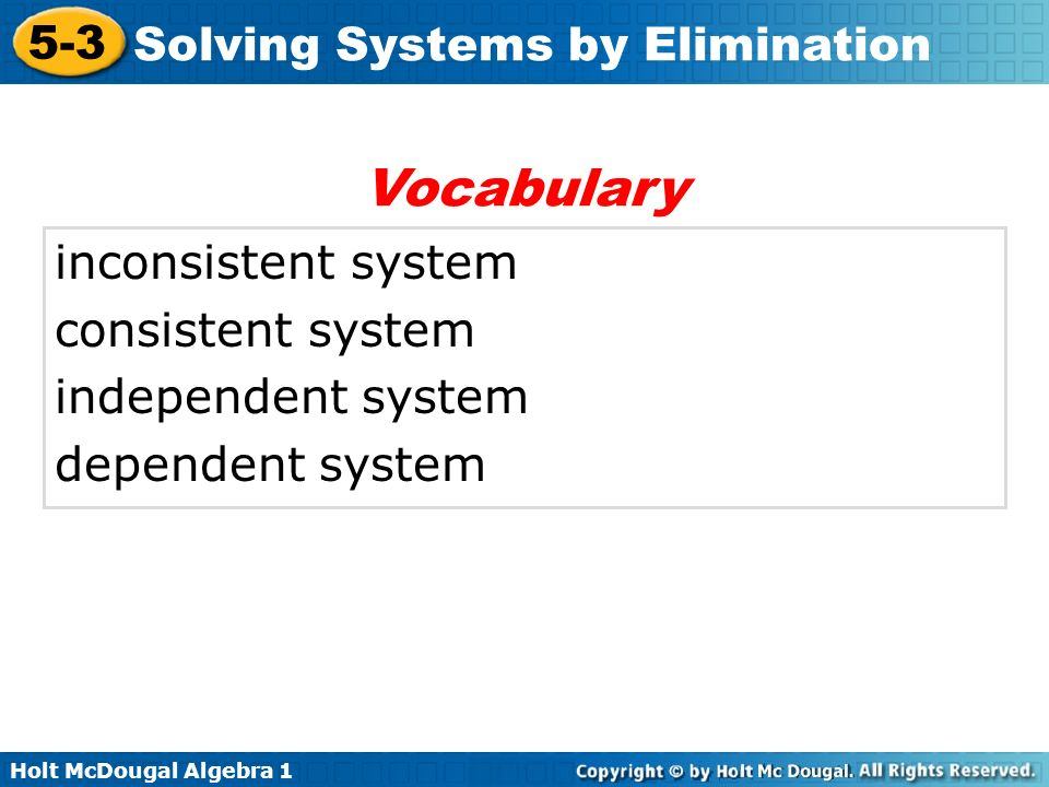 Vocabulary inconsistent system consistent system independent system