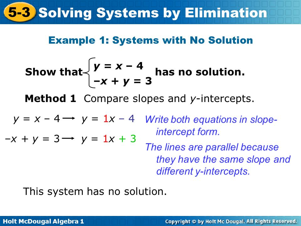 Example 1: Systems with No Solution