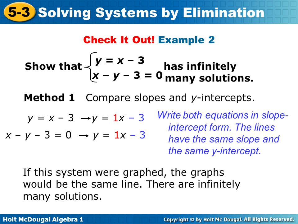 Check It Out! Example 2 Show that has infinitely. many solutions. y = x – 3.