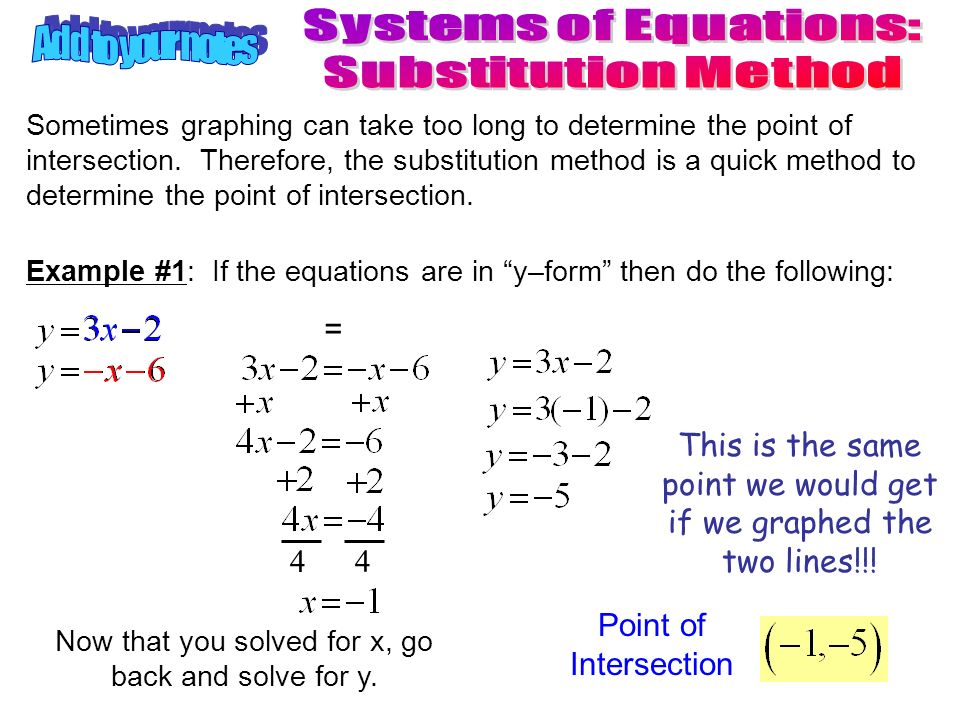 How to do substitution in system of equations