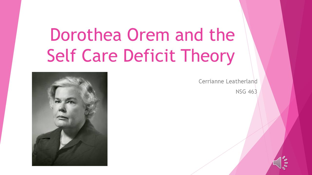 dorothea orem self care deficit theory of nursing essay Dorothea orem's self care deficit theory paper details: discussion activity: orem, roy, neuman, newman, and rogers's theories have been reviewed in your readings.