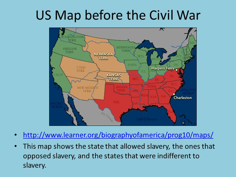 Us Map Before The Civil War