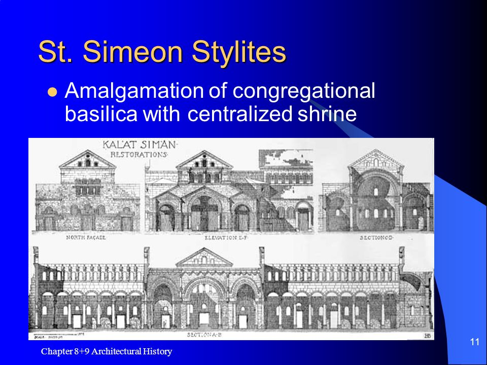St. Simeon Stylites Amalgamation of congregational basilica with centralized shrine.