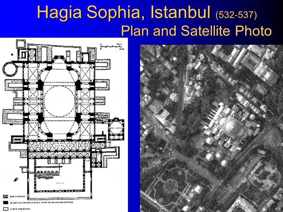 Hagia Sophia, Istanbul (532-537) Plan and Satellite Photo
