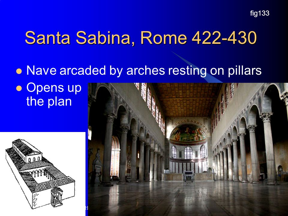Santa Sabina, Rome Nave arcaded by arches resting on pillars