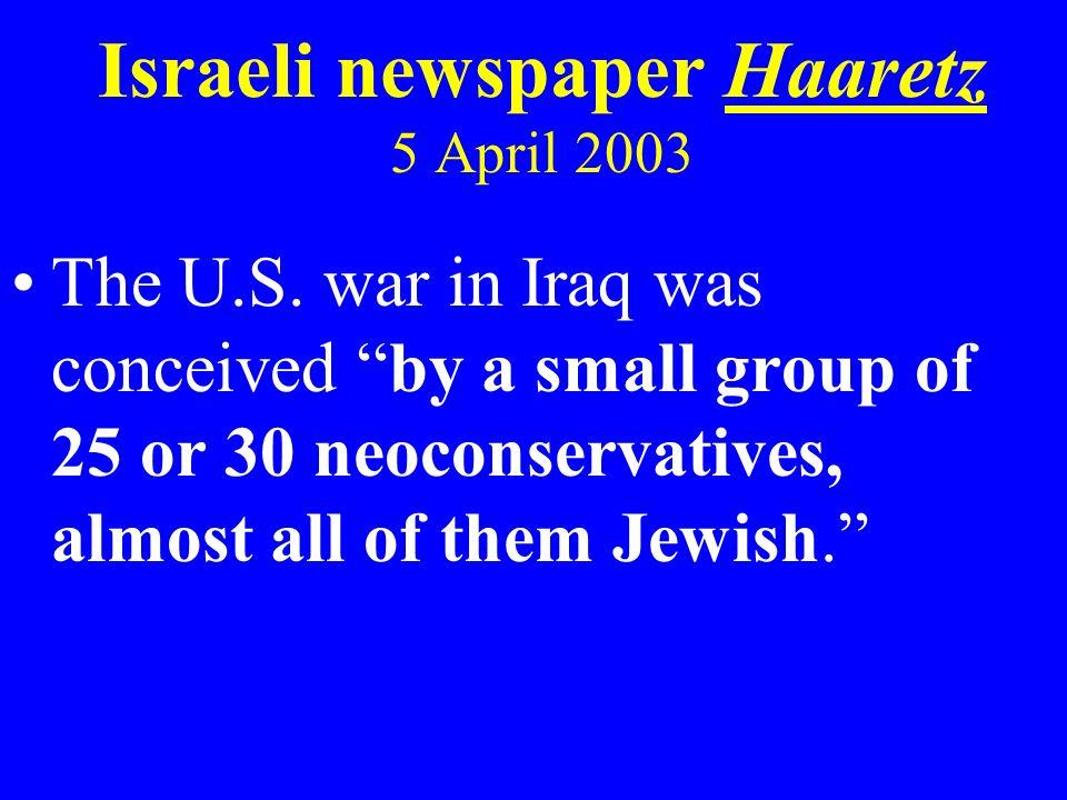 Israeli newspaper Haaretz 5 April 2003