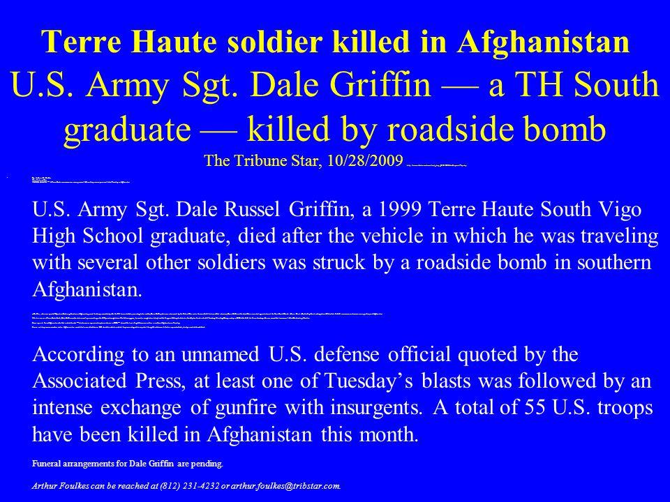 Terre Haute soldier killed in Afghanistan U. S. Army Sgt