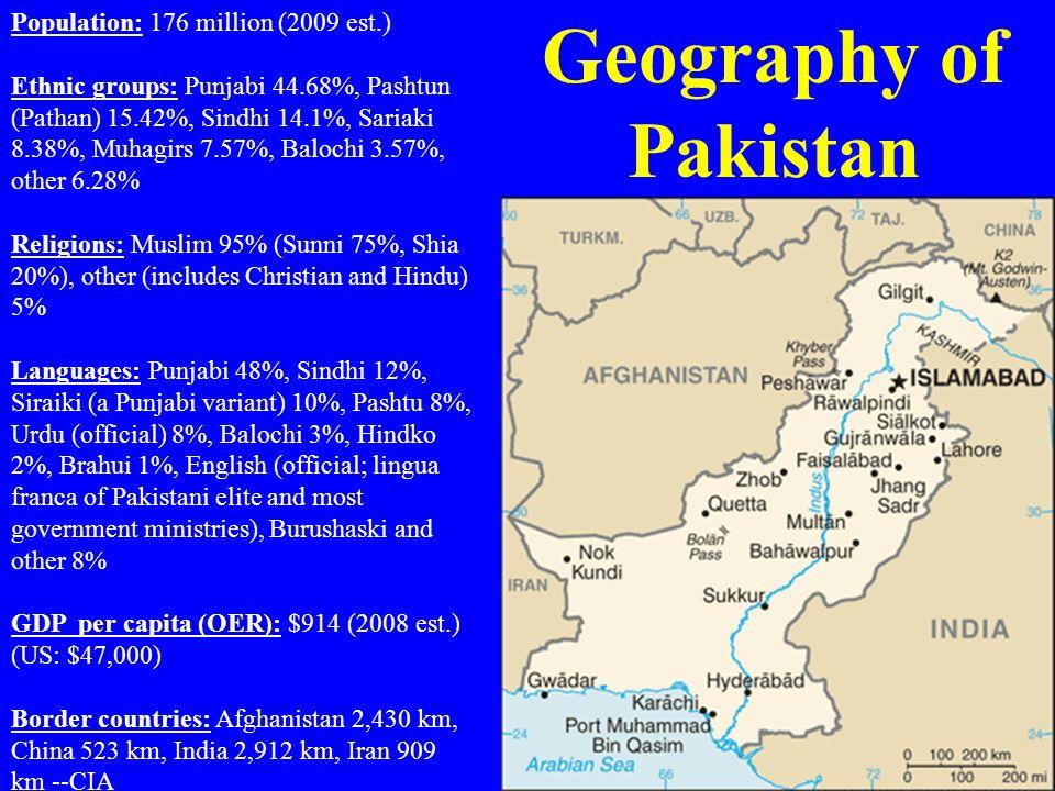 Geography of Pakistan Population: 176 million (2009 est.)