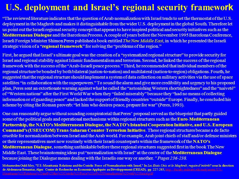 U.S. deployment and Israel's regional security framework