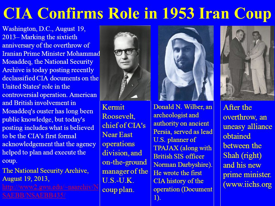 CIA Confirms Role in 1953 Iran Coup