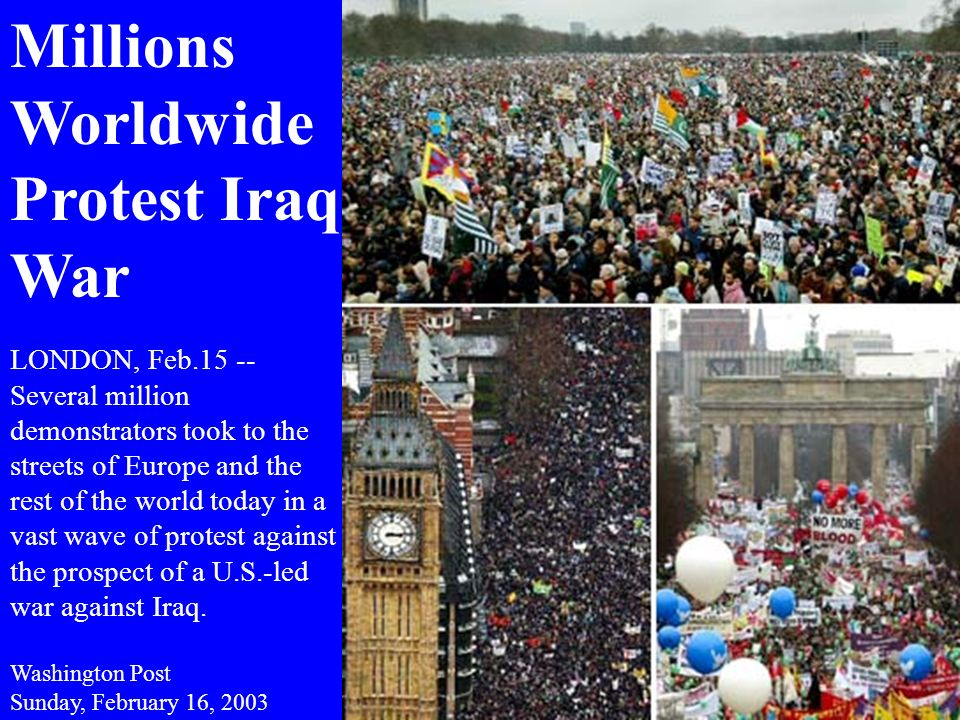 Millions Worldwide Protest Iraq War