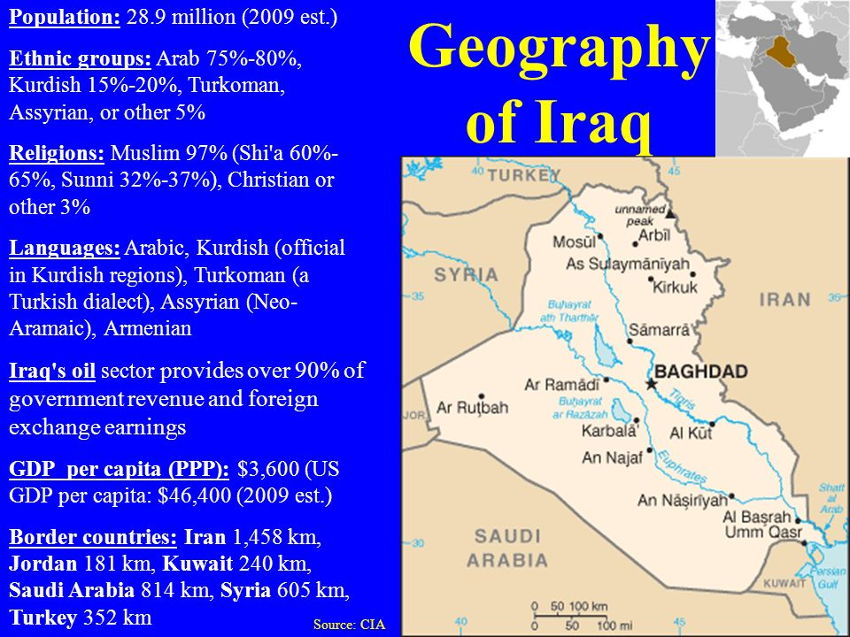 Geography of Iraq Population: 28.9 million (2009 est.)