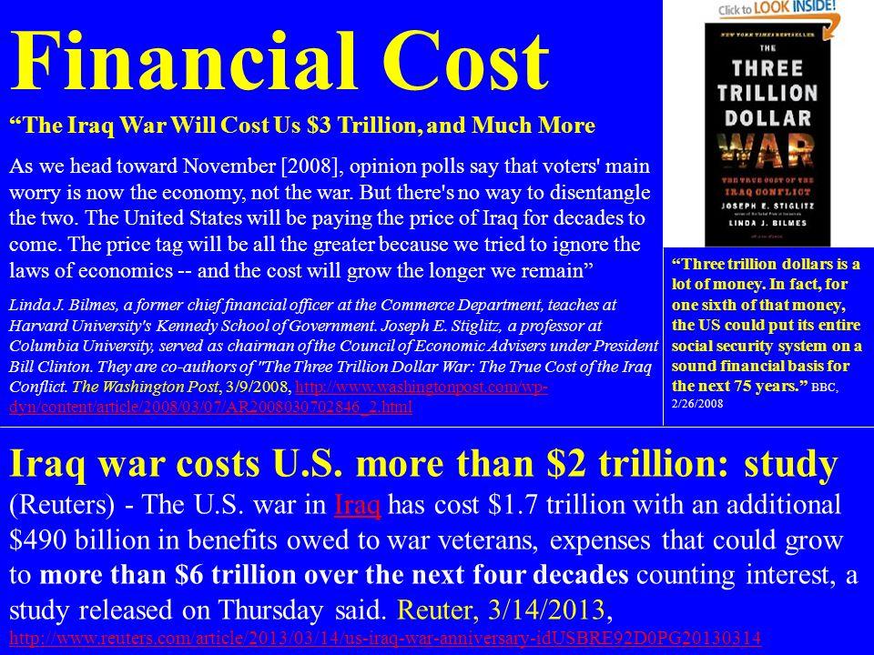 Financial Cost Iraq war costs U.S. more than $2 trillion: study