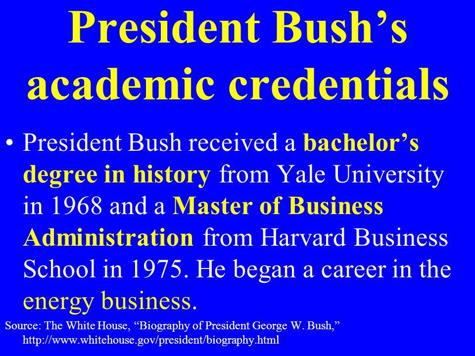 President Bush's academic credentials