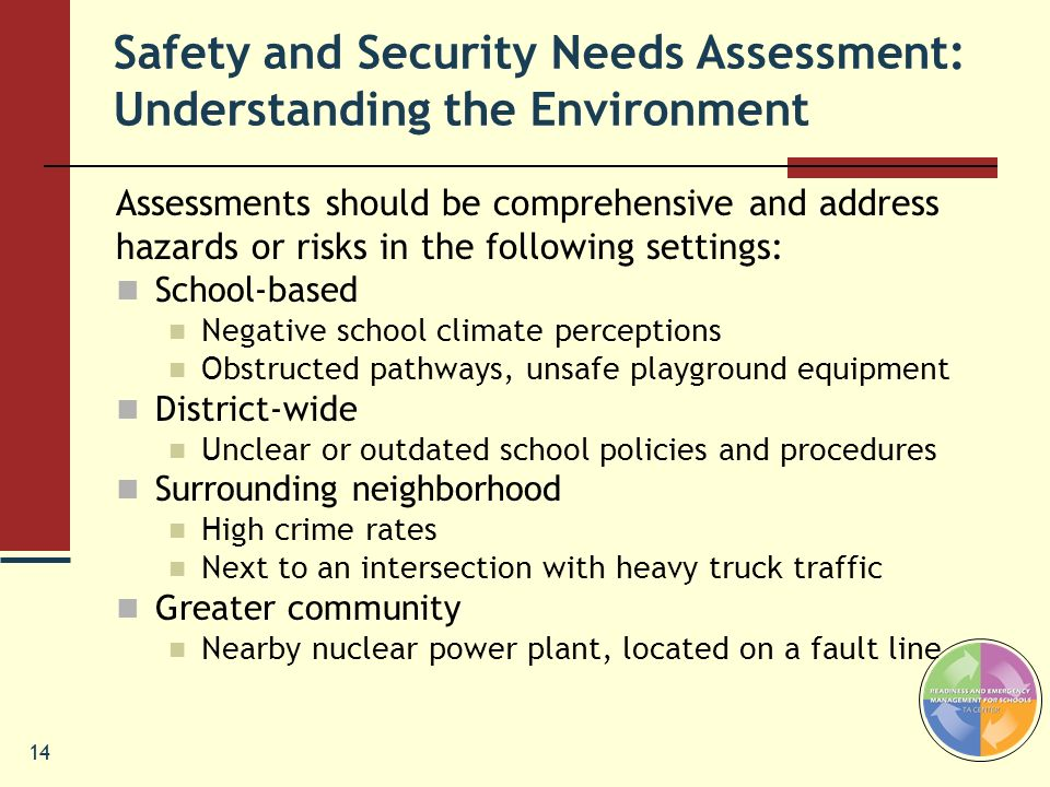 Safety and Security Needs Assessment: Understanding the Environment