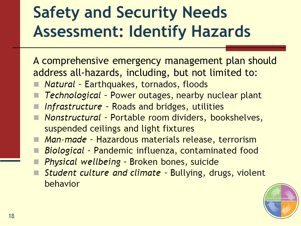 Safety and Security Needs Assessment: Identify Hazards