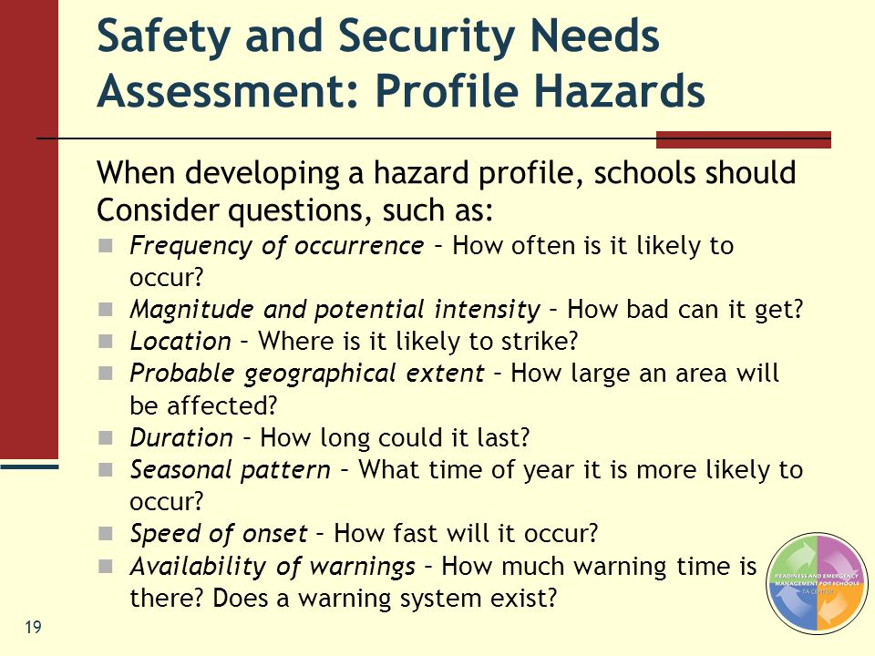 Safety and Security Needs Assessment: Profile Hazards