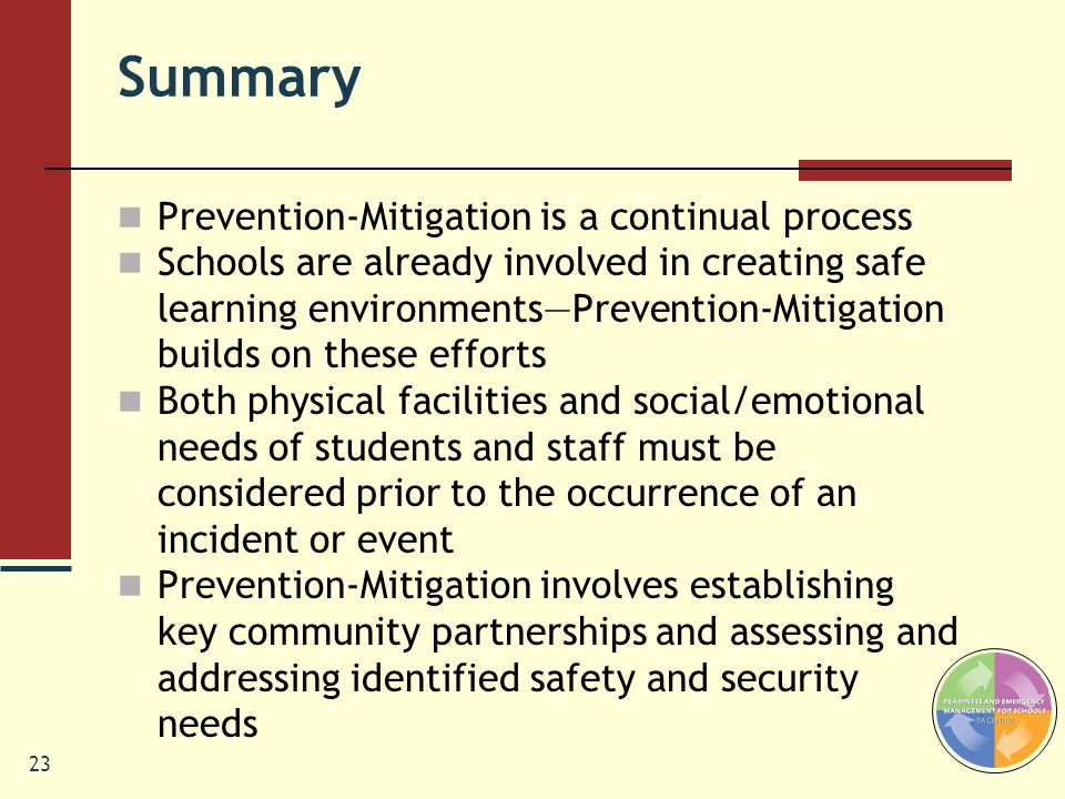 Summary Prevention-Mitigation is a continual process