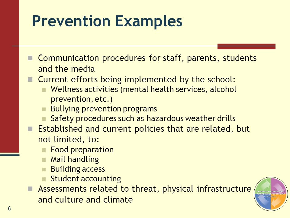 Prevention Examples Communication procedures for staff, parents, students and the media. Current efforts being implemented by the school:
