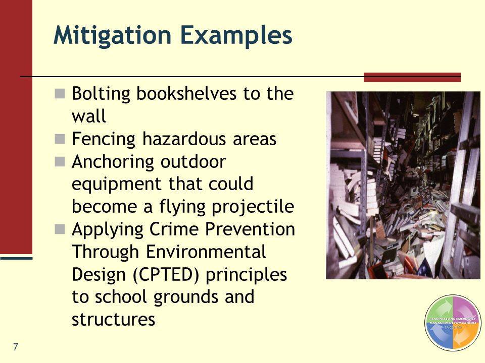 Mitigation Examples Bolting bookshelves to the wall