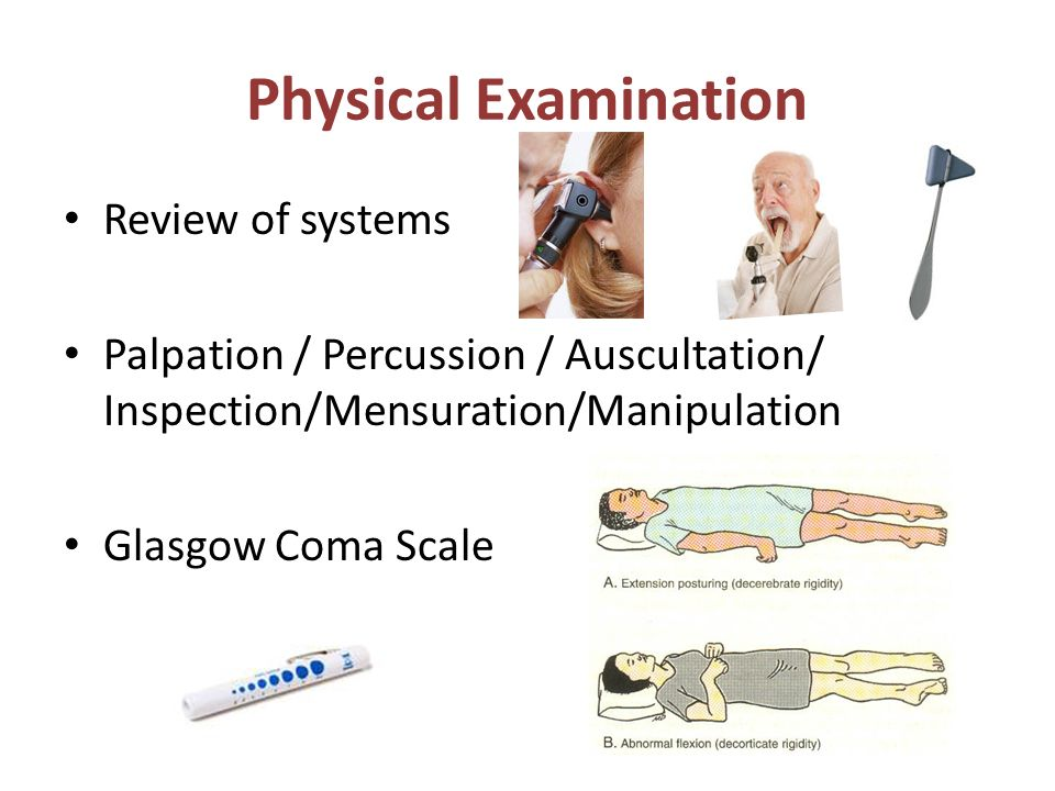 physical examination and review of system Focused physical assessment  ment is done by the rn on admissionalthough vital signs could be done along with the appropriate body system,they are usually done at the.