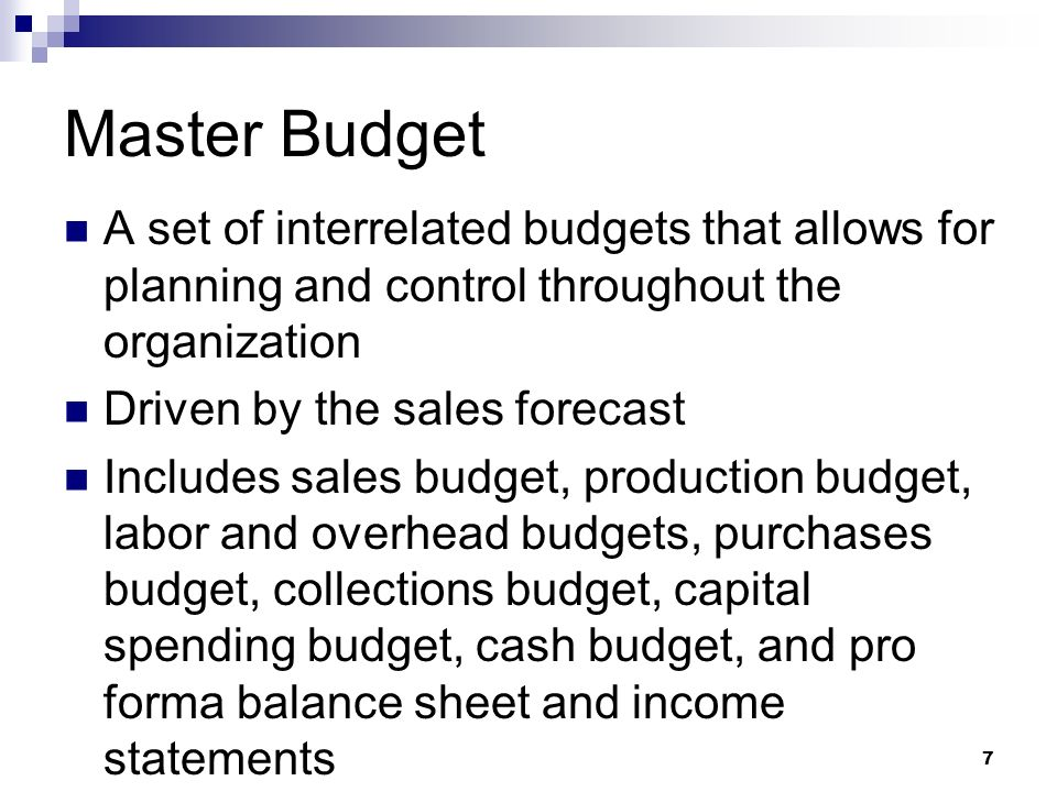 master budget analysis