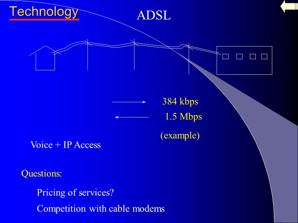 a comparison of cable modems and adsl internet technologies Historically, dsl speeds have been slower but new technology lessens the speed gap between dsl and cable internet dsl offers users a choice of speeds ranging from 128 kbps to 3 mbps cable modem download speeds are typically up to 2 times faster than dsl.