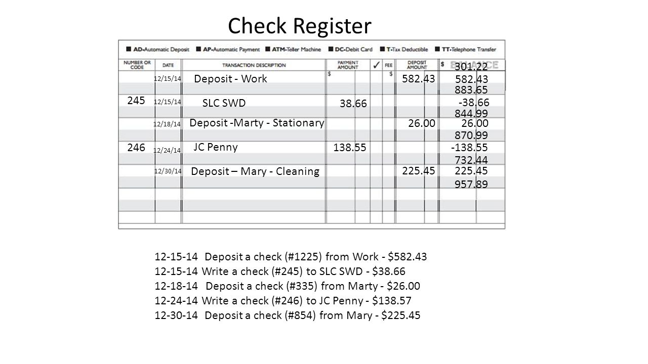 Write a check to yourself for deposit